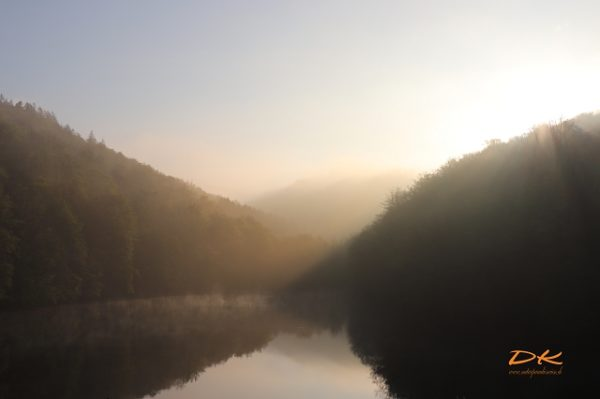Morgennebel über Bergsee